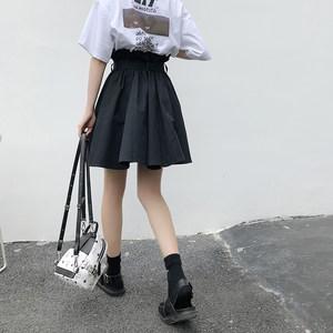 <span class=H>花苞裙</span>女2019夏季新款韩版a字半身裙高腰绑带学生黑色ins超火短裙