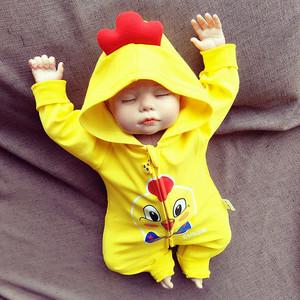 出生婴儿连体衣服<span class=H>宝宝</span>满月百天春秋冬装新生儿鸡男女纯棉0-3个月