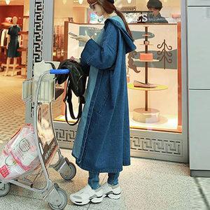 春秋季韩版长袖牛仔风衣女长款过膝大码显瘦宽松bf风牛仔外套女