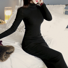 High-collar sweater woman's long plush and thick sweater skirt in autumn and winter