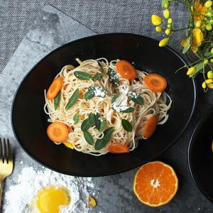 北欧个性简约陶瓷大碗 黑色哑光色釉餐厅沙拉碗家用椭圆汤碗面碗
