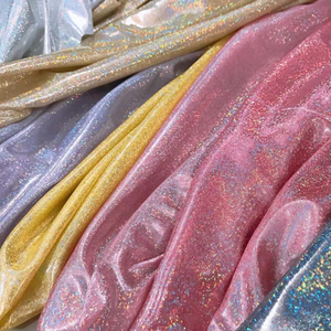 镭射幻彩布七彩点针织烫金布料指纹点面料生日桌布美甲道具布
