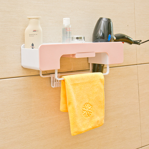 免打孔<span class=H>卫浴</span>多功能置物架浴室卫生间壁挂式吹风机架洗漱<span class=H>用品</span>储物架