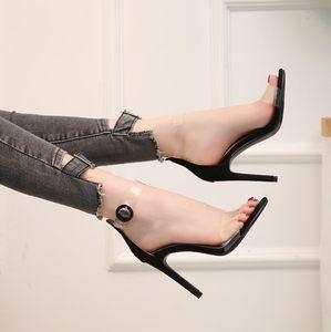 2019新款性感百搭黑色一字带凉鞋夏季欧美透明露趾<span class=H>高跟鞋</span>细跟单鞋