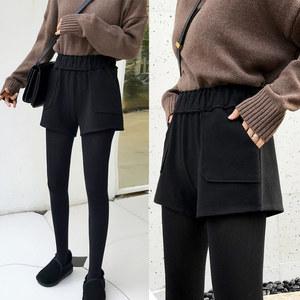 高腰毛呢短<span class=H>裤</span>秋冬款2018新款黑色阔腿加厚外穿宽松休闲靴<span class=H>裤</span>女