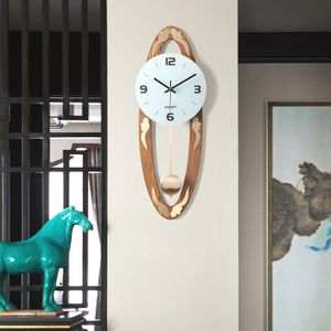 新中式挂钟客厅创意木质钟表家用摇<span class=H>摆钟</span>现代简约大气时钟静音挂表