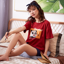 New Knitted Cotton Sleepwear, Summer Short Sleeves, Short Sleeves, Leisure Housewear, Spring and Autumn Thin Two-piece Suit