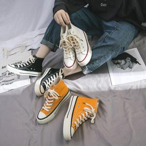 1970s高帮<span class=H>帆布鞋</span>女学生韩版原宿情侣ulzzang板鞋百搭小黑鞋ins潮