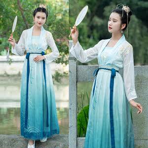 传统汉服仙女显瘦齐腰襦裙渐变色印花雪纺长裙对襟<span class=H>上衣</span>刺绣花吊带