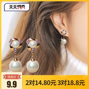 珍珠<span class=H>耳环</span>韩国气质简约耳饰长款耳坠耳夹无耳洞 防过敏纯银耳钉女