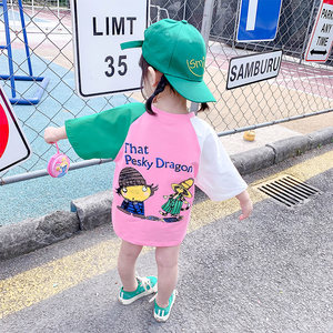女童短袖<span class=H>T恤</span>2019新款儿童中长款半袖上衣女宝宝洋气卡通打底衫潮