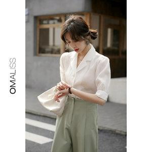 2019夏装韩版复古泡泡袖宽松衬衣短袖衬衫女半袖洋气雪纺衫上衣
