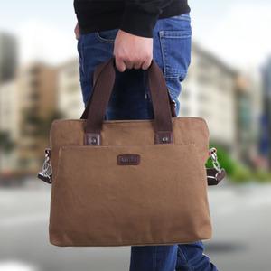 男士手提包横款商务电脑包单肩斜挎包休闲<span class=H>男包</span>复古帆布包公文包男