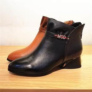 清仓红蜻蜓女鞋正品2018冬季新款真皮女靴子短靴加绒潮流C958621H
