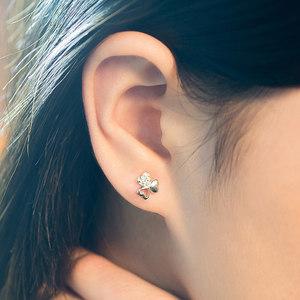 <span class=H>幸福三叶草</span>925银耳钉 女士925银耳环饰品时尚甜美不易过敏