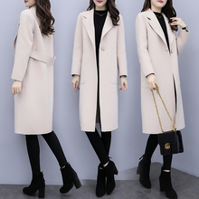 Long and medium-length Beige woolen overcoat women's Korean version 2019 Spring and Autumn New Loose Hepburn fashionable thin woolen overcoat women