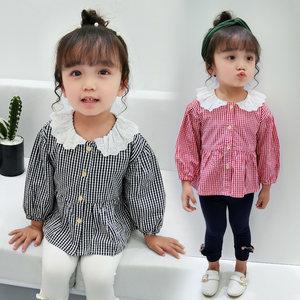 春秋装韩版女童<span class=H>衬衫</span>长袖儿童小衫娃娃衫洋气1-3岁2女宝宝格子上衣