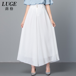 垂感裙裤女2019新款夏季坠感阔腿裤白色雪纺九分裤大码薄款大脚裤