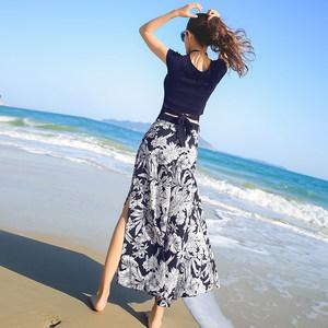 海边度假套装女夏阔腿裤两件套民族风泰国碎花长裤波西米亚沙滩裤