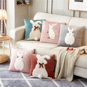 兔子抱枕被子两用毛绒女靠垫<span class=H>汽车</span>办公室冬季毯午睡珊瑚绒可爱<span class=H>靠枕</span>