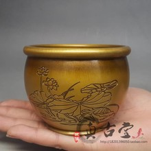 Pure Copper Lotus Copper Pot Arrangement Money Pot Small Pot Cigarette Furnace Ashtray Home Decoration Gift Antique Collection