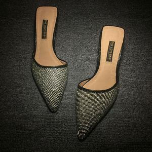包头半拖鞋女外穿尖头拖鞋夏凉爽水钻<span class=H>女鞋</span>时尚细高跟凉拖鞋小码鞋