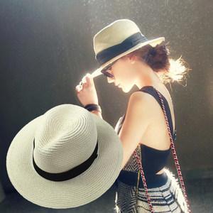 帽子女夏天大沿出游巴拿马<span class=H>草帽</span>折叠英伦韩版宽檐沙滩爵士遮阳礼帽