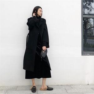 冬季新品中长款过膝加厚黑色显瘦羊毛呢子外套双面羊绒<span class=H>大衣</span>女装