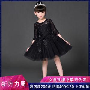 儿童礼服<span class=H>公主裙</span>女童蓬蓬纱黑色模特走秀中大童钢琴演出服晚礼服秋