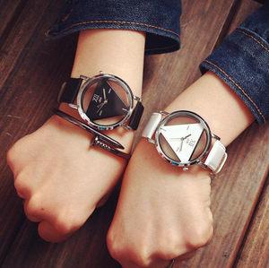 新时尚韩版皮带情侣<span class=H>手表</span>一对简约男女款透明超薄中学生潮流石英表