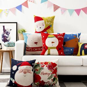圣诞老人熊卡通抱枕可爱情侣新年礼物棉麻沙发<span class=H>靠垫</span>午休抱腰枕<span class=H>靠枕</span>