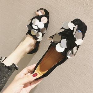 鞋子女2019新款百搭韩版学生时尚平底鞋<span class=H>单鞋</span>女舒适防滑女鞋豆豆鞋