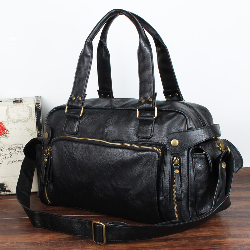 Handbag male recreational list the shoulder PU skin man bag day Han Ban current style greatly wrap inclined Ku to revive old customs to travek a male to wrap - intl