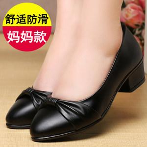 春季中年女鞋妈妈鞋舒适防滑软底中跟单鞋浅口休闲女士<span class=H>皮鞋</span>工作鞋