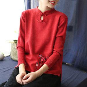 代勒原创复古中国风盘扣绣花包芯纱套头毛衣针织衫<span class=H>羊毛衫</span>女装冬季