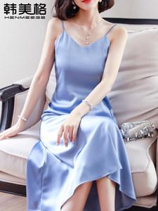 夏季丝绸缎面中长款打底吊带内搭<span class=H>连衣裙</span>很仙的法国小众裙子女长裙