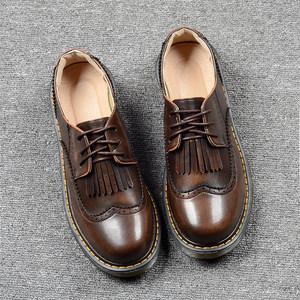 英伦小<span class=H>皮鞋</span>女春季新款复古学院风日系流苏雕花布洛克平底原宿单鞋