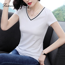 White T-shirt, Short Sleeve, Ins Westernized Blouse, Summer Dress, New Type of Slim, Slim, Pure Cotton Black T-shirt
