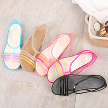Summer plastic sandals, flat-soled jelly shoes, crystal rubber sandals, mothers, fishmouth anti-skid Cave Beach Shoes