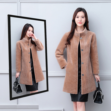 2008 new fur jacket sheep shearing overcoat female mid-long anti-season and anti-season fur in one winter