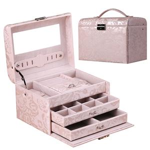 皮革木质镜面抽屉带锁多层首饰盒<span class=H>珠宝</span>盒首饰收纳盒饰品盒戒指盒
