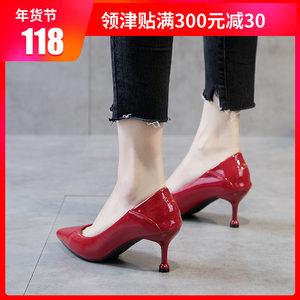 高跟鞋少女细跟2018新款春季韩版百搭尖头性感小清新猫跟5cm<span class=H>单鞋</span>