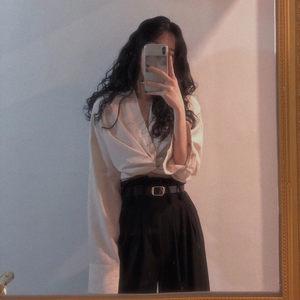 法式复古V领交叉打结绑带白<span class=H>衬衫</span>港味chic女性感露脐衬衣长袖上衣