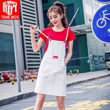Xiao Qingxin Jeans Belt Skirt Summer Female 2019 New Korean Edition Student French Skirt Children Belt Skirt Dress