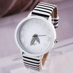 黑白条纹斑马纹性感皮带女表 休闲<span class=H>手表</span>家