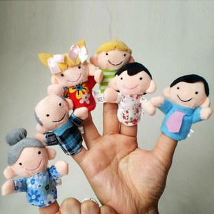 lovely and lively 6pcs family finger puppets cloth doll baby
