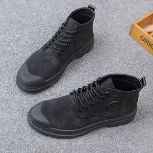 秋季迷彩短靴系带<span class=H>男靴</span>子高帮帆布休闲鞋男士平底欧美马丁靴单靴子