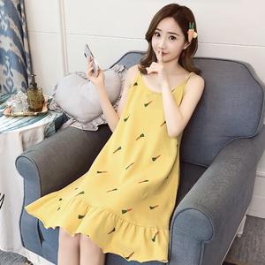 夏季吊带纯棉韩版睡裙女清新可爱夏天女士全棉无袖性感睡衣家居服