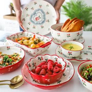 tinyhome日式<span class=H>陶瓷</span>樱桃小碗早餐碗家用沙拉碗麦片碗水果碗菜盘饭碗
