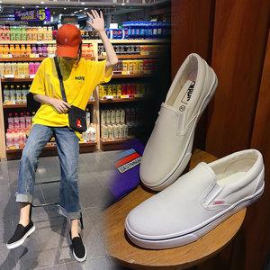 无带布鞋女一脚蹬网红帆布小白鞋男女情侣款懒人鞋学生松紧板鞋子